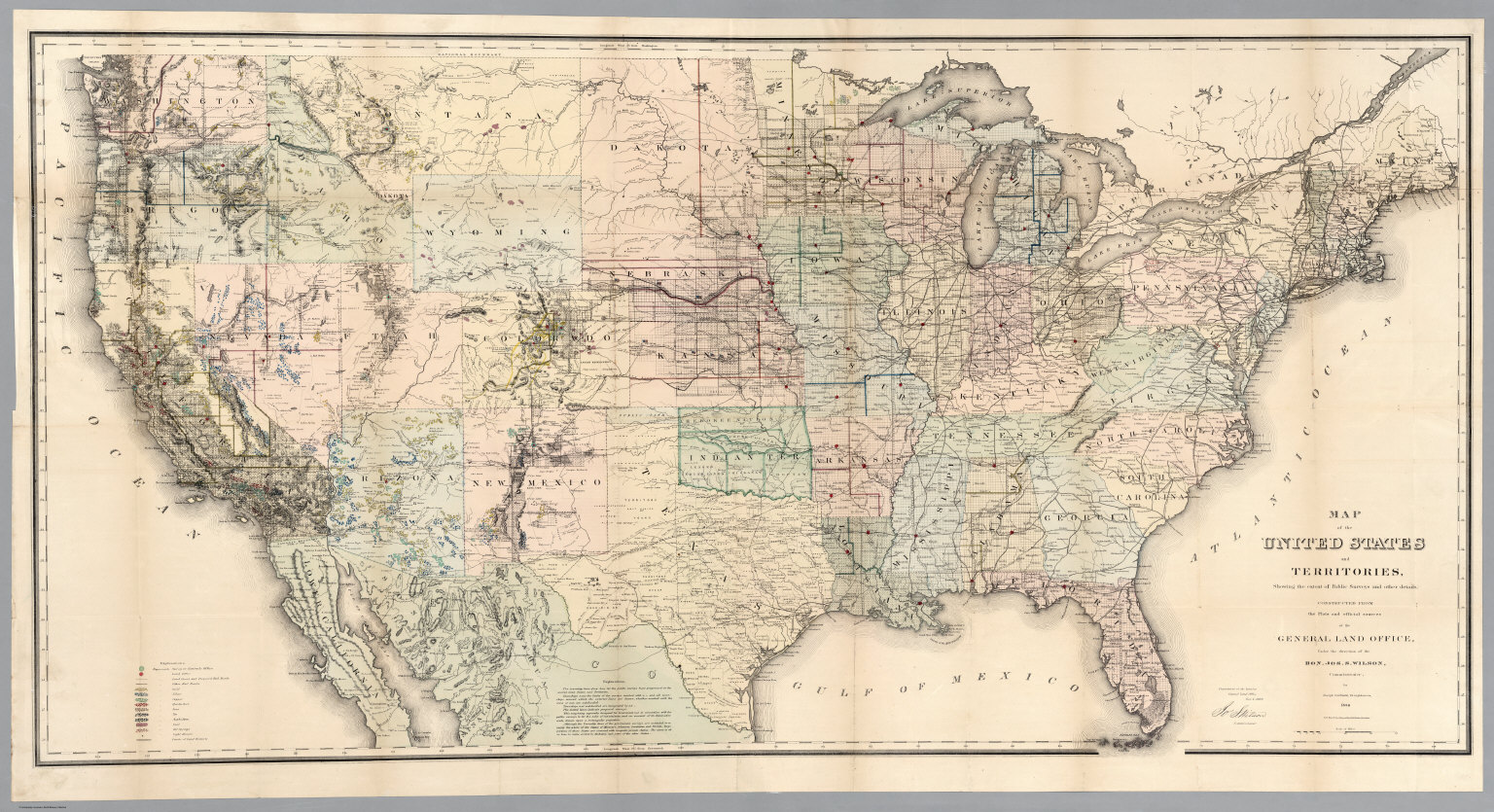 Map Of The United States And Territories 1869