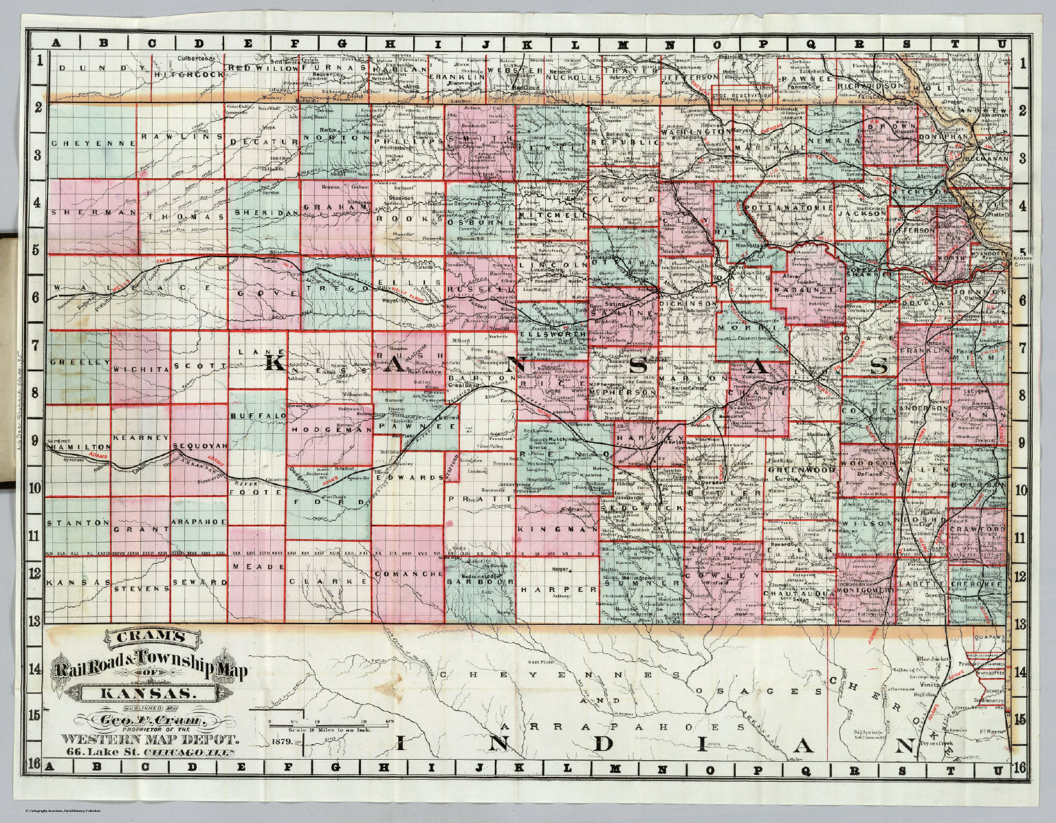Rail Road Township Map Of Kansas David Rumsey Historical Map - Road map of kansas