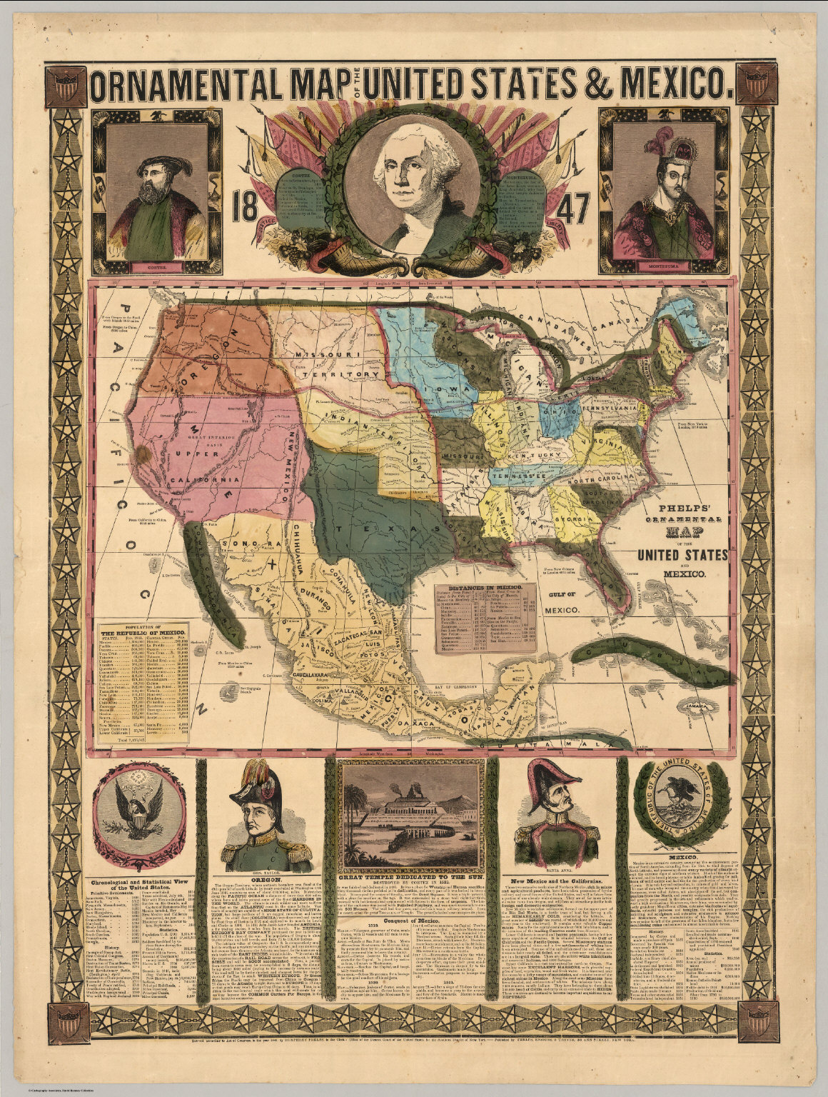 Ornamental Map Of The United States Mexico 1847
