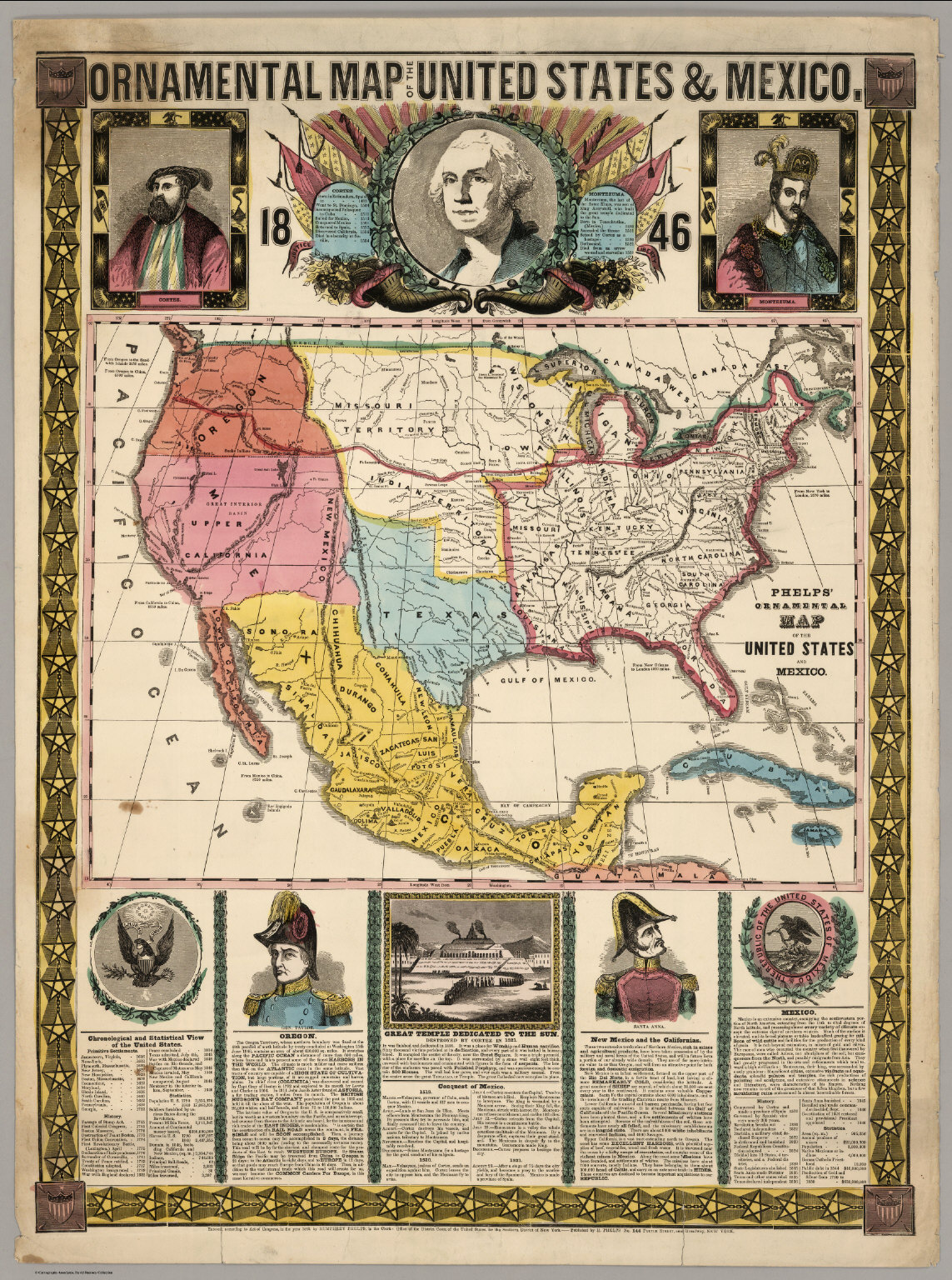 Ornamental Map Of The United States And Mexico 1846