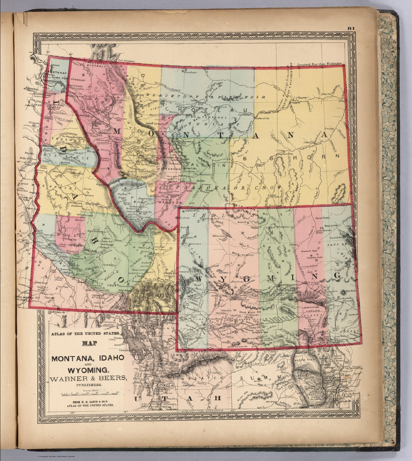 Montana Idaho And Wyoming David Rumsey Historical Map Collection - Map of montana and wyoming