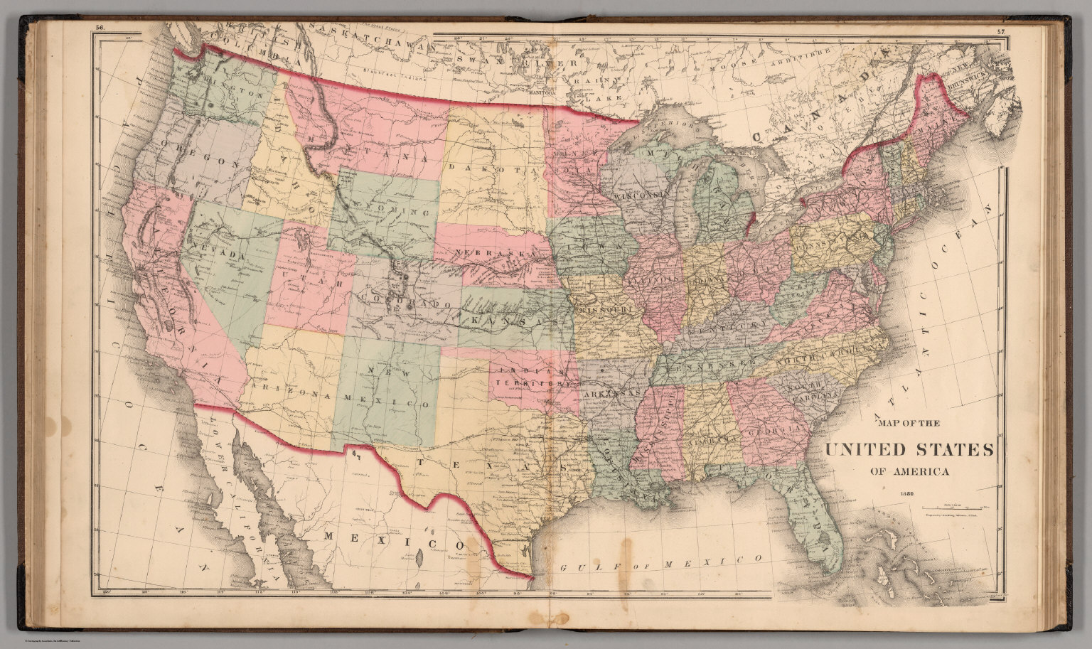 United States of America 1880  David Rumsey Historical Map