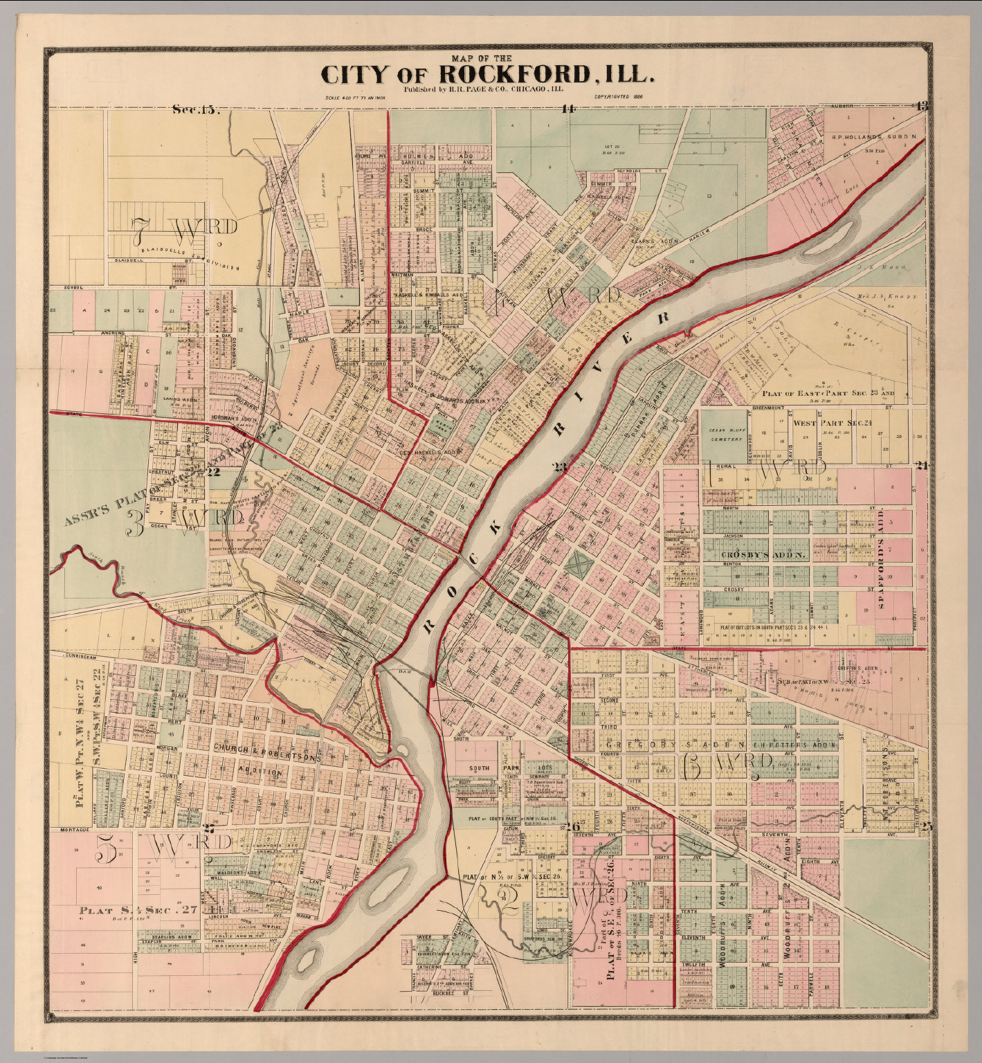 City Of Rockford Illinois David Rumsey Historical Map Collection - Ill map