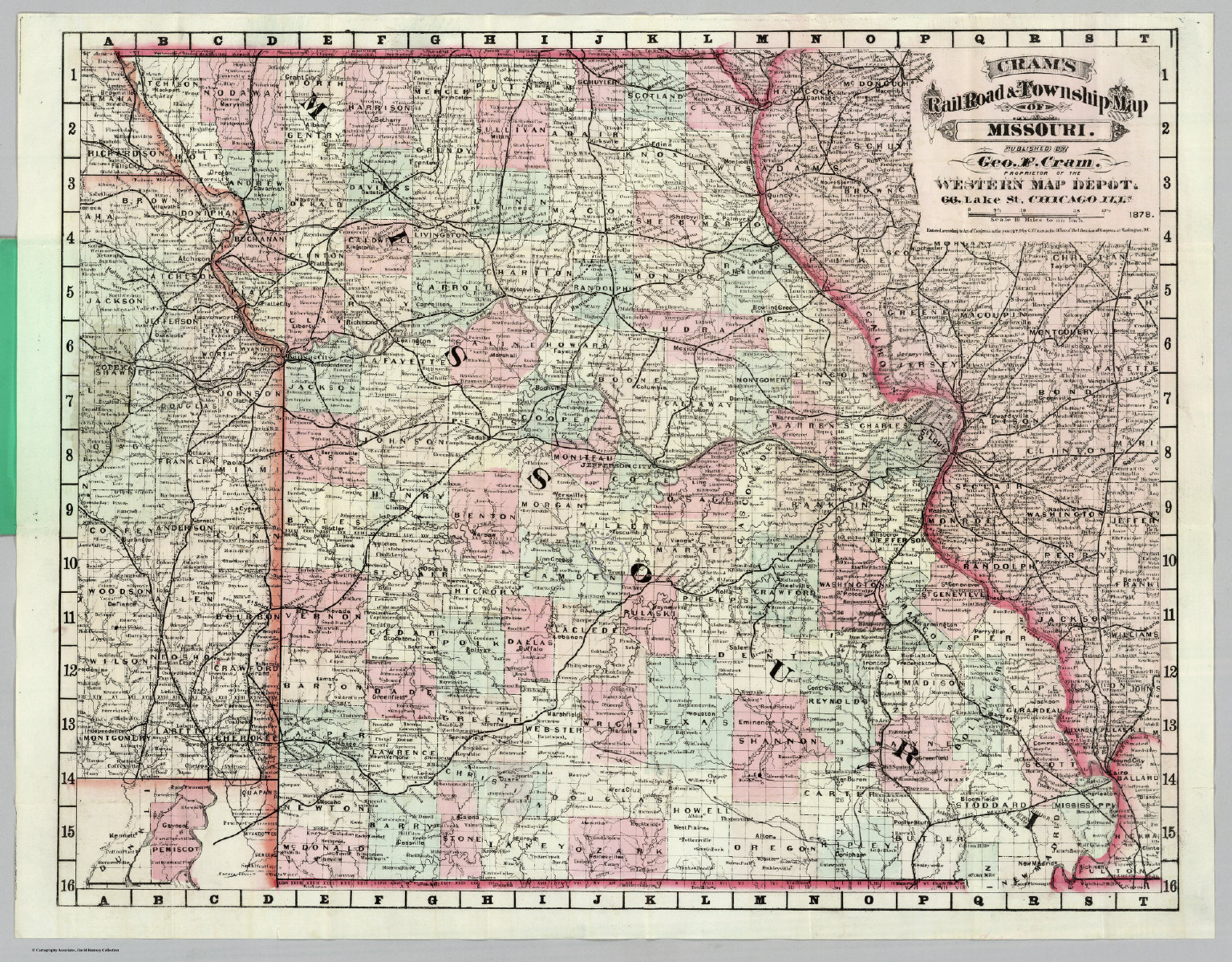 Rail Road And Township Map Of Missouri David Rumsey Historical - Road map of missouri