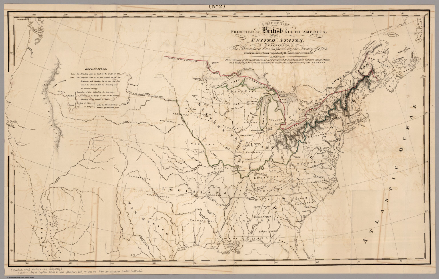 Map Of The Frontier Of British North America And The United - Us map drawn by brits