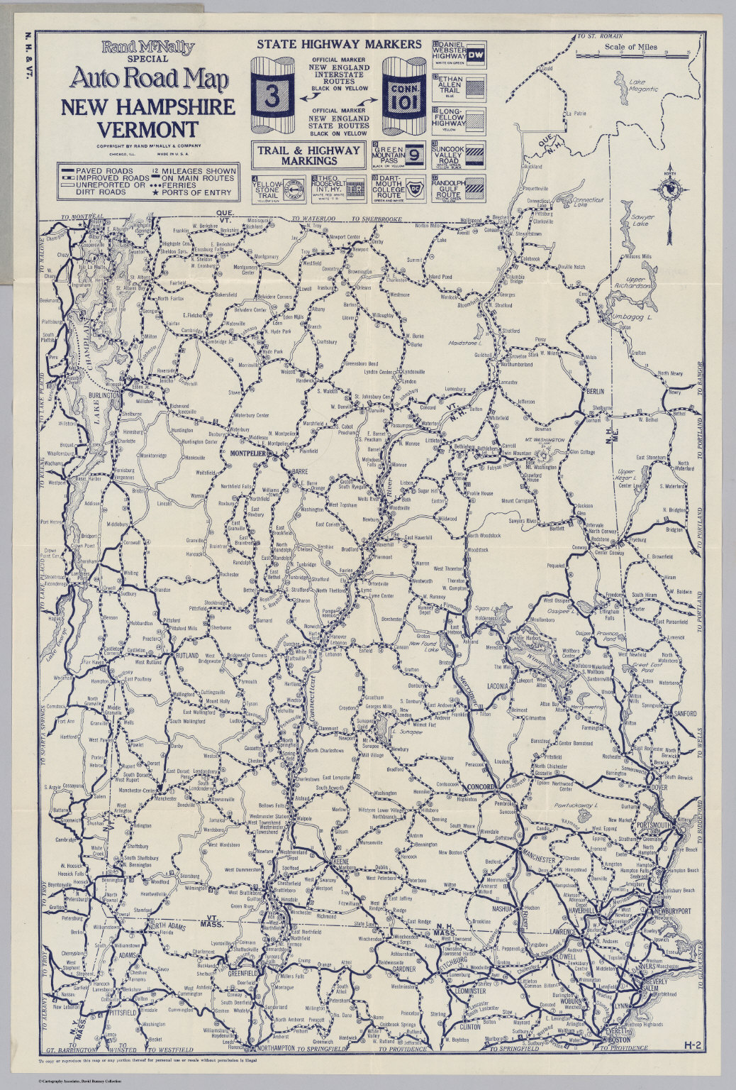 Auto Road Map New Hampshire Vermont David Rumsey Historical Map - Road map of nh
