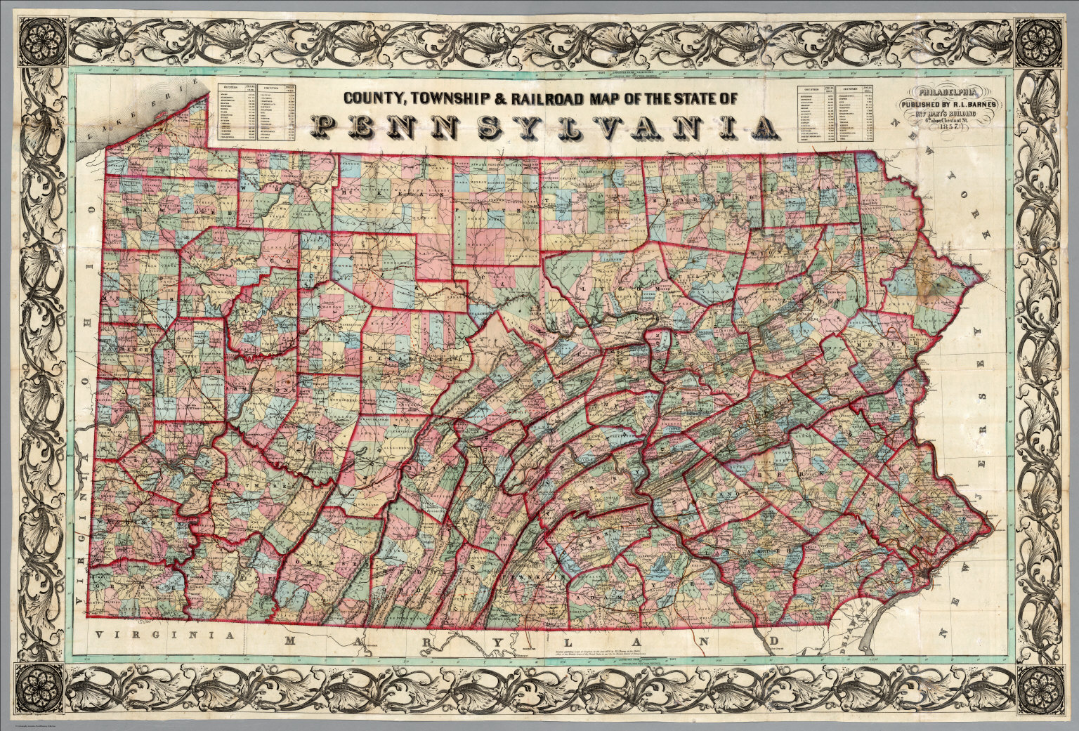 County Township Railroad Map Of The State Of Pennsylvania - State of pennsylvania map