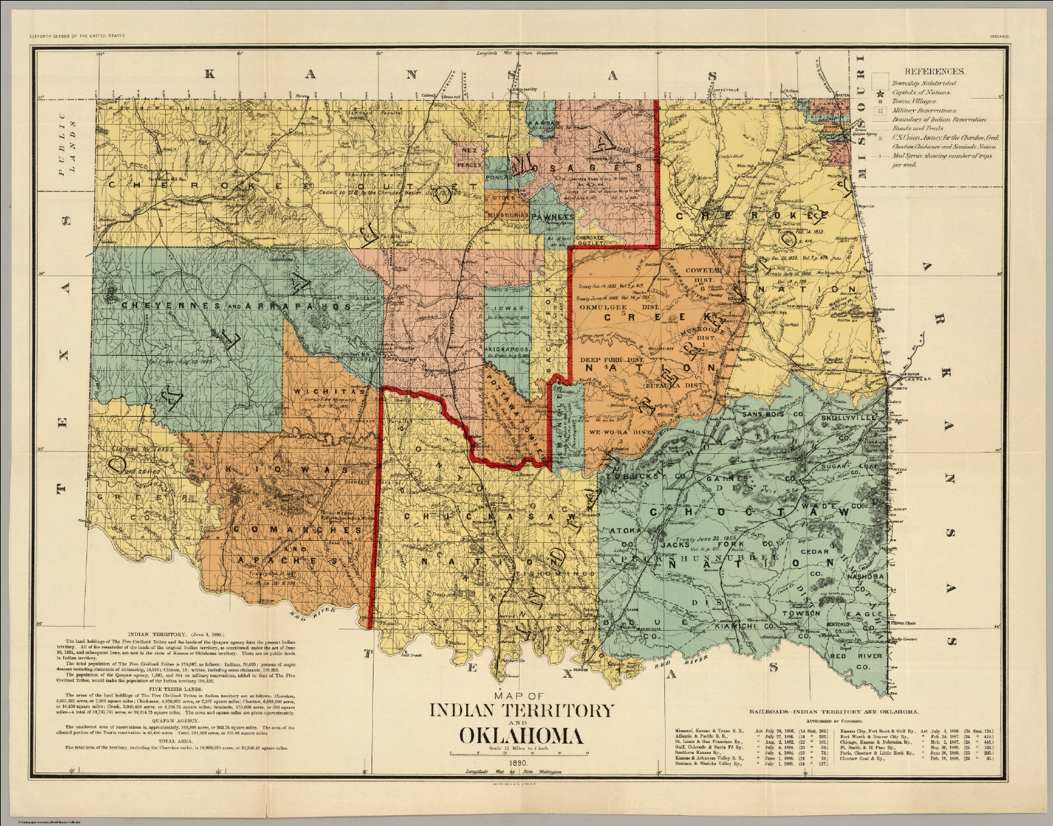 Map Indian Territory And Oklahoma David Rumsey Historical Map