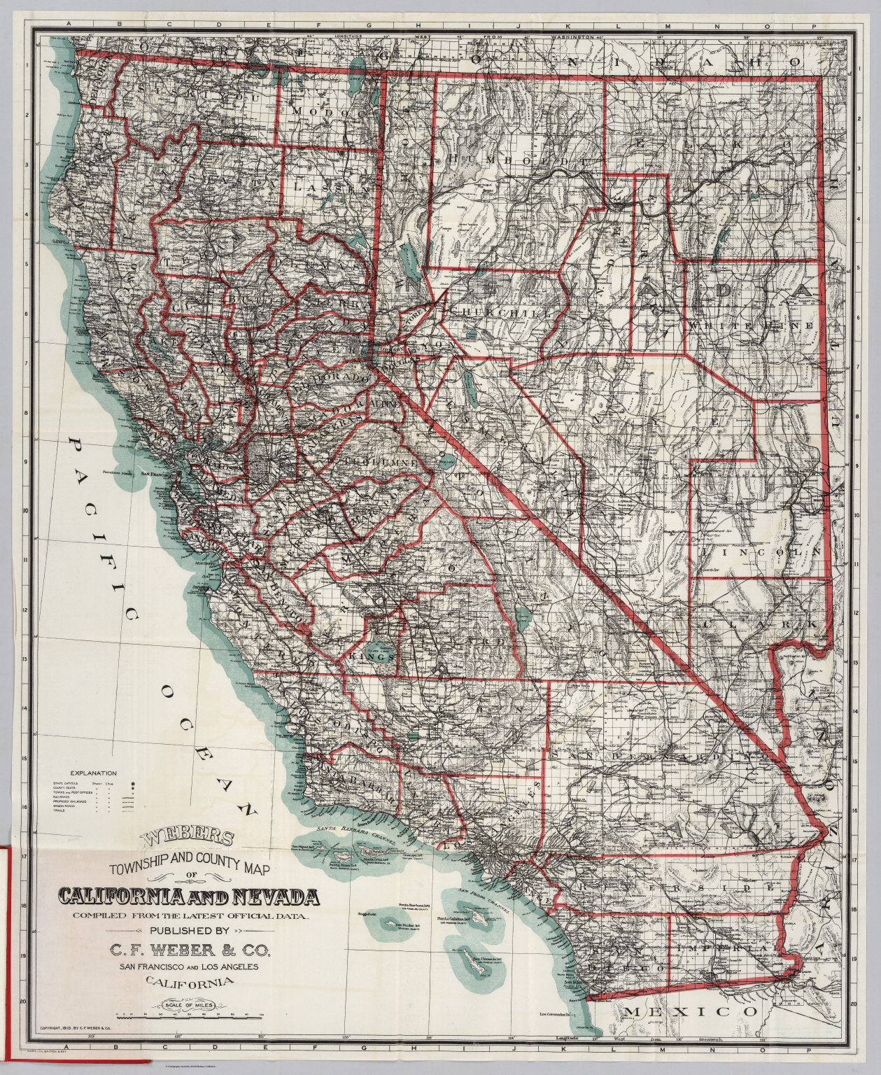 California And Nevada David Rumsey Historical Map Collection - Road map of nevada