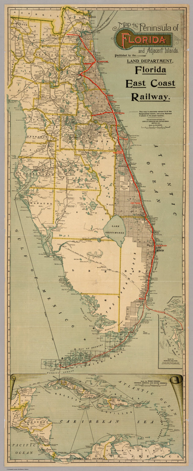 Map Of The Peninsula Of Florida And Adjacent Islands David - Florida map east coast