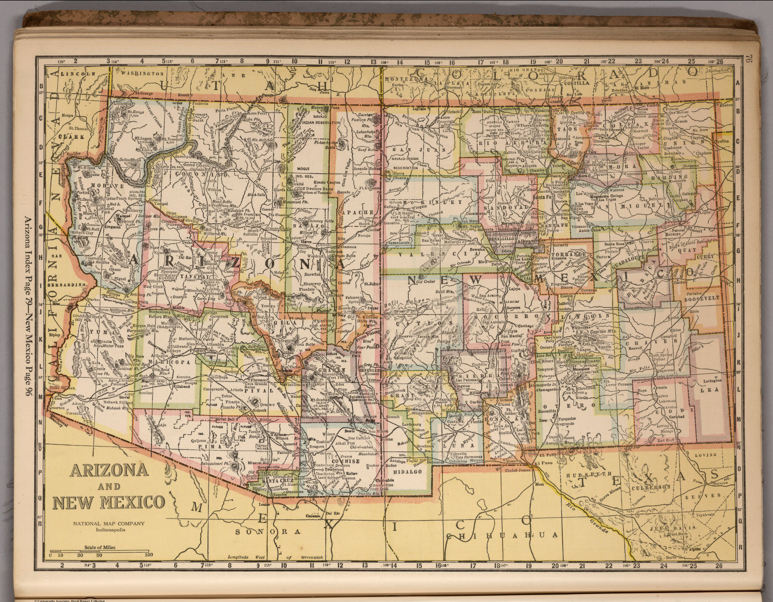 Arizona And New Mexico David Rumsey Historical Map Collection - Map of arizona and new mexico