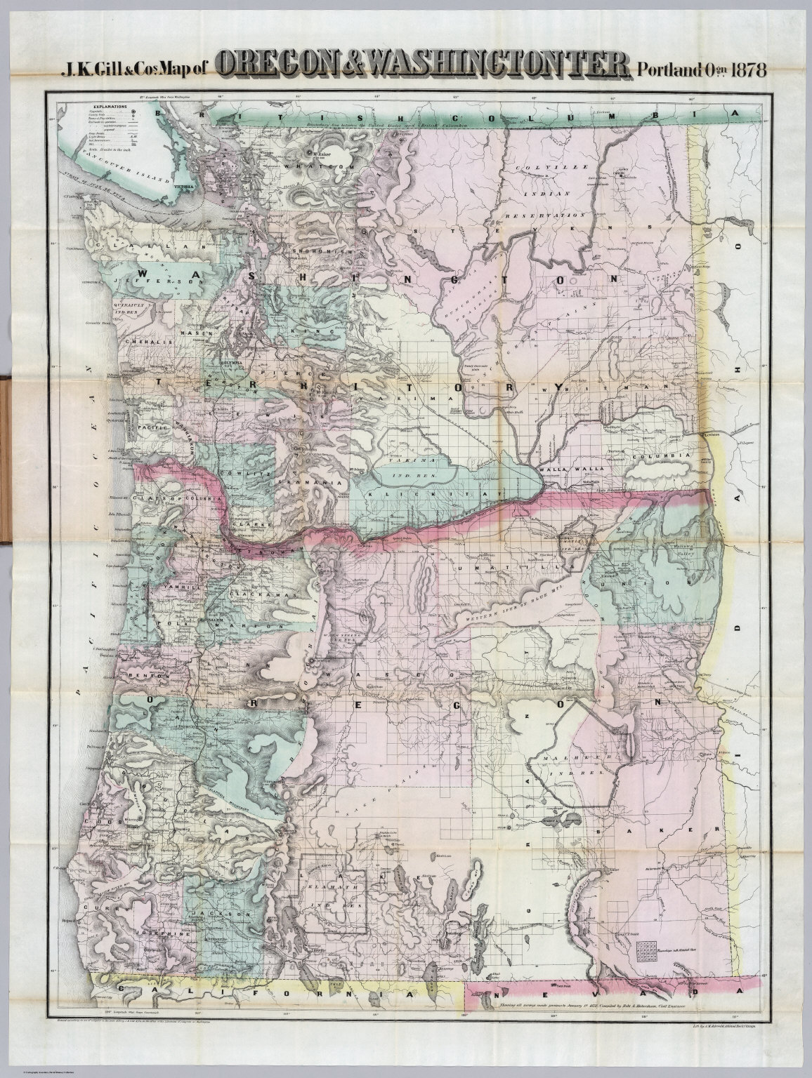 Oregon And Washington David Rumsey Historical Map Collection - Map of oregon and washington