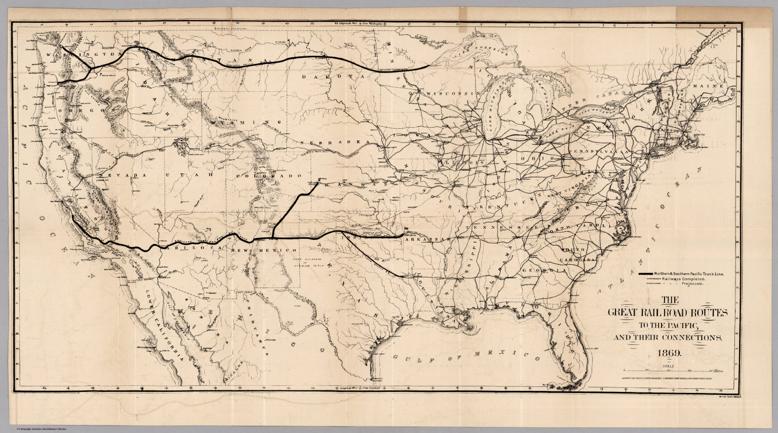 Railroad Routes To The Pacific David Rumsey Historical Map