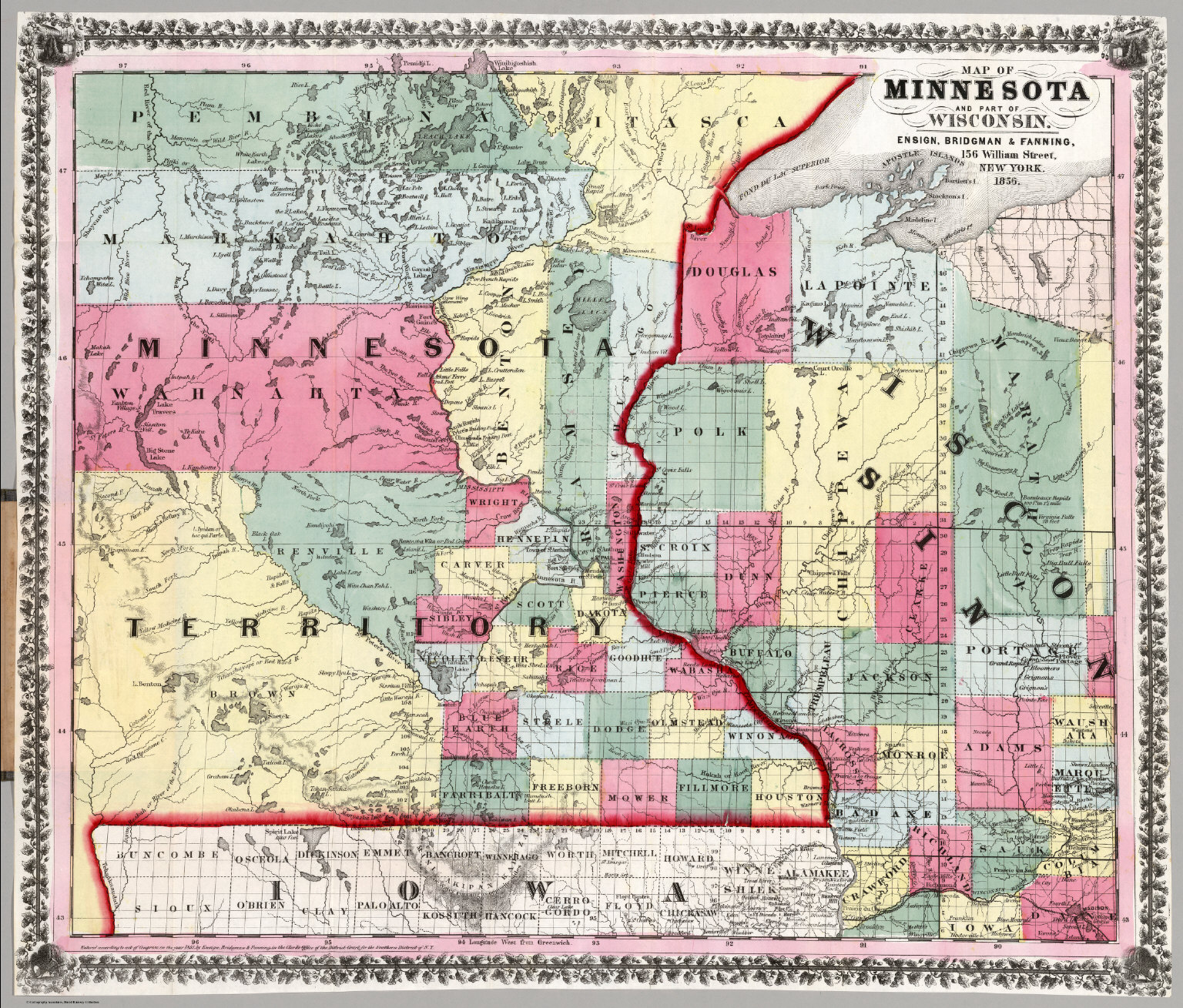 Map Of Minnesota And Part Of Wisconsin David Rumsey Historical - Map of wisc