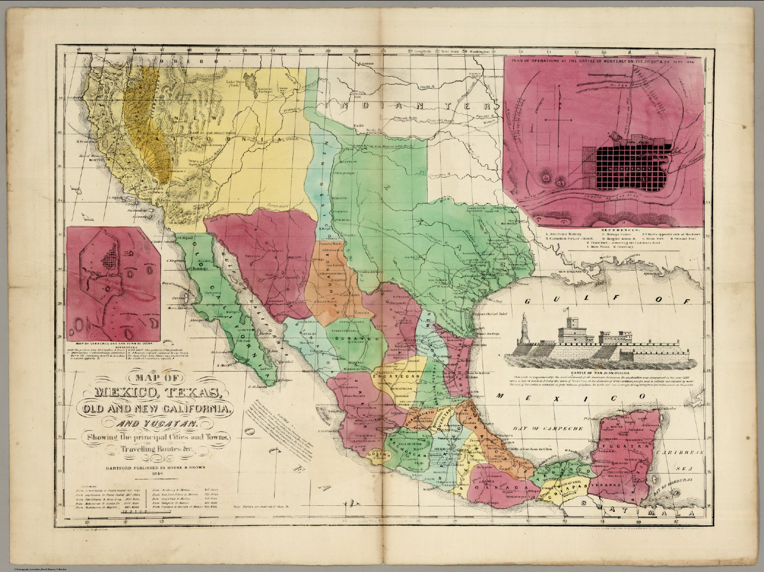 Map Of Mexico Texas Old And New California And Yucatan David