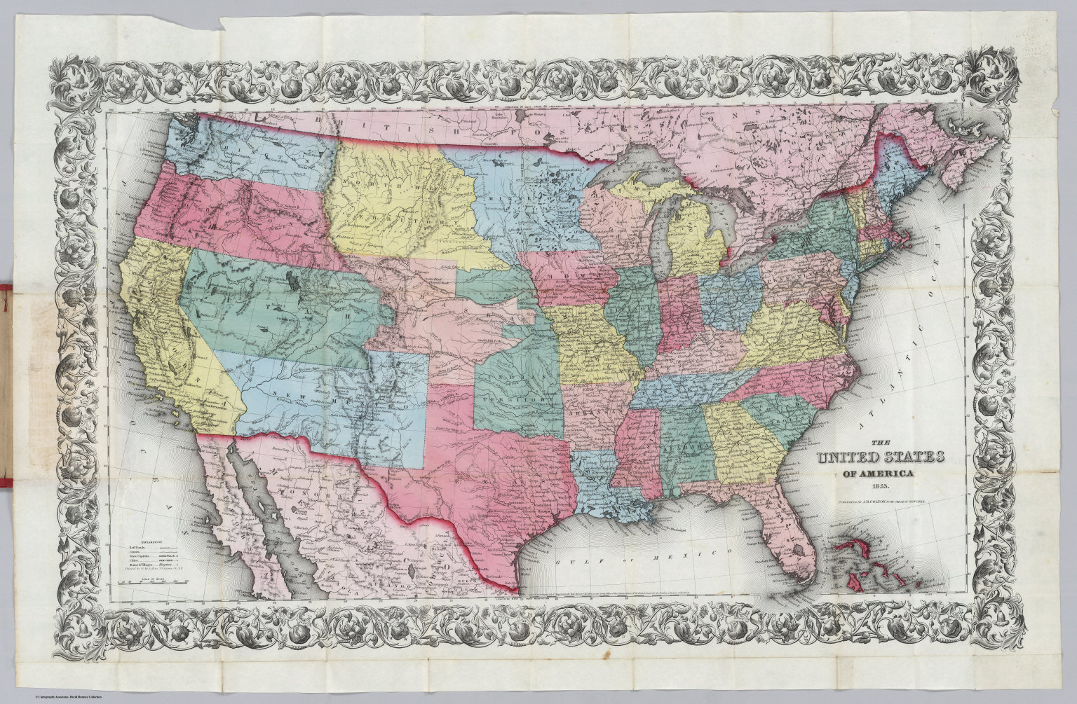 United States Of America 1853 David Rumsey Historical Map Collection