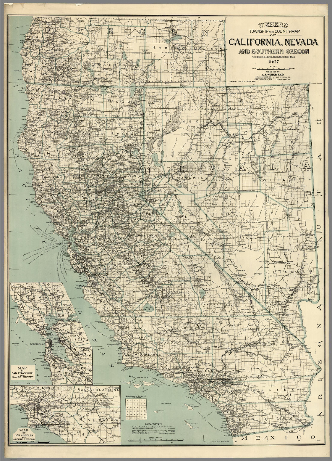 Map Of California Nevada And Southern Oregon David Rumsey - Map of southern oregon