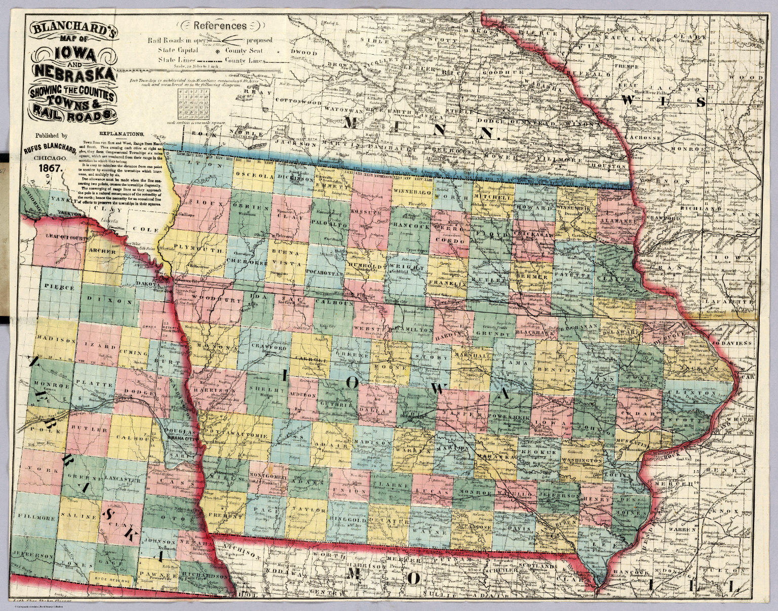 Map Of Iowa And Nebraska David Rumsey Historical Map Collection - Map of nebraska towns