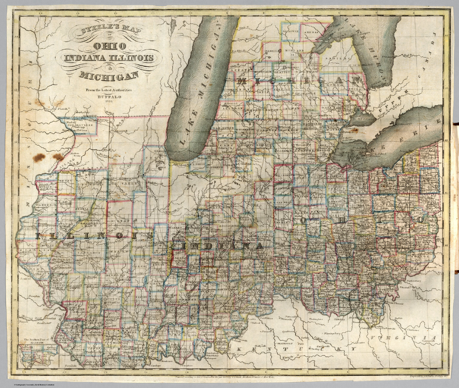 Steeles Map Of Ohio Indiana Illinois Michigan David Rumsey - Map of indiana and illinois