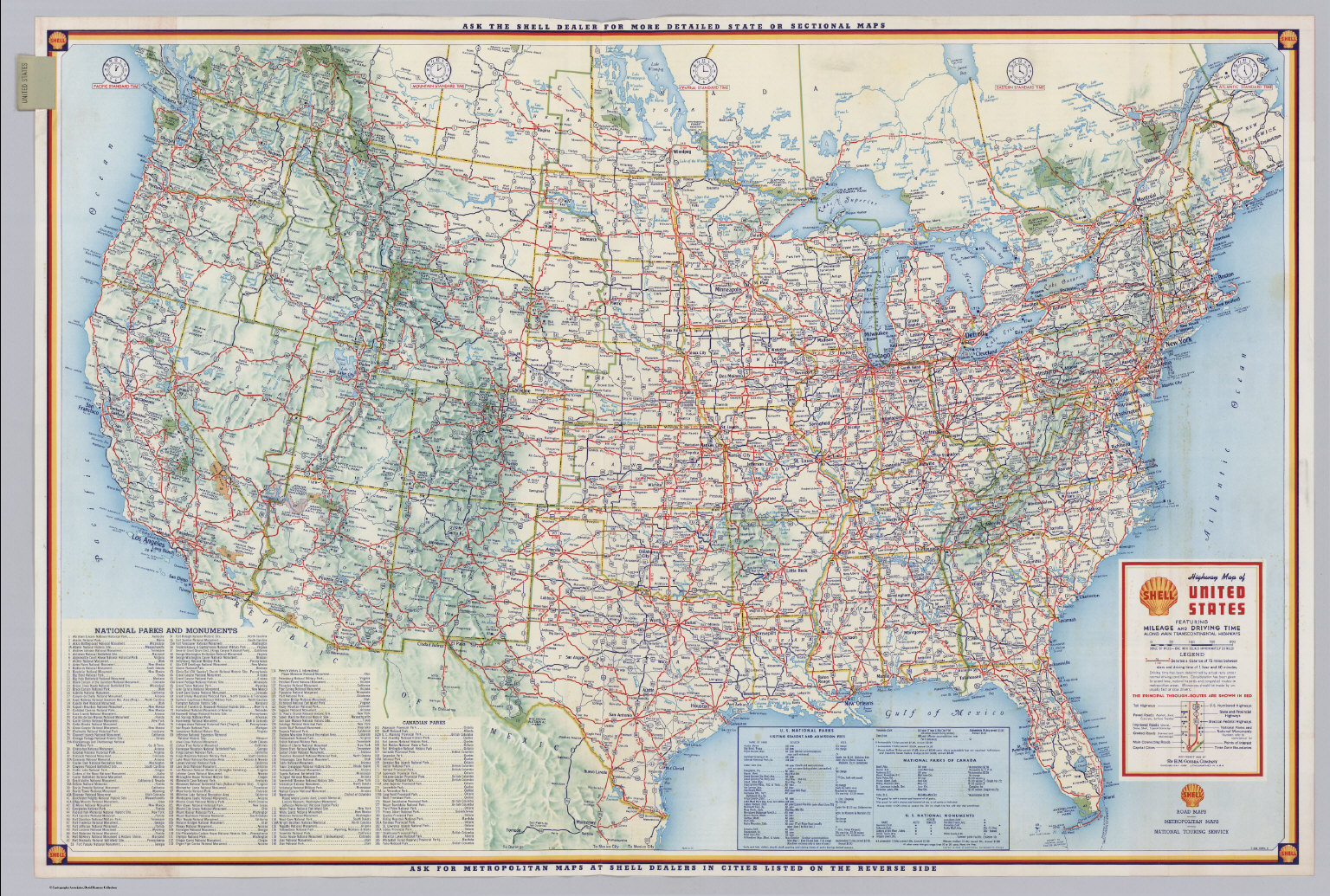 Shell Highway Map Of United States David Rumsey Historical Map - Map of highways in us