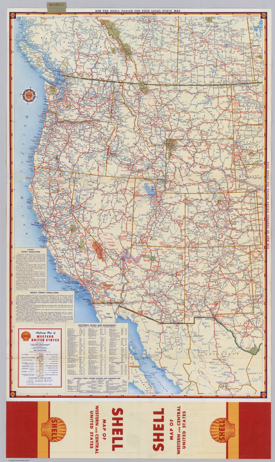 Shell Highway Map Of Western United States David Rumsey - Us states map