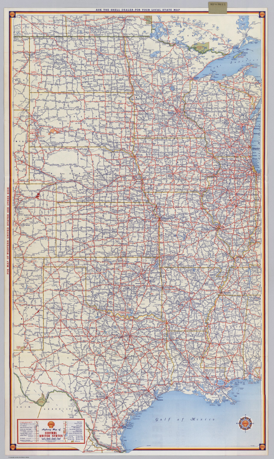 Shell Highway Map Of Central United States David Rumsey - Central us map