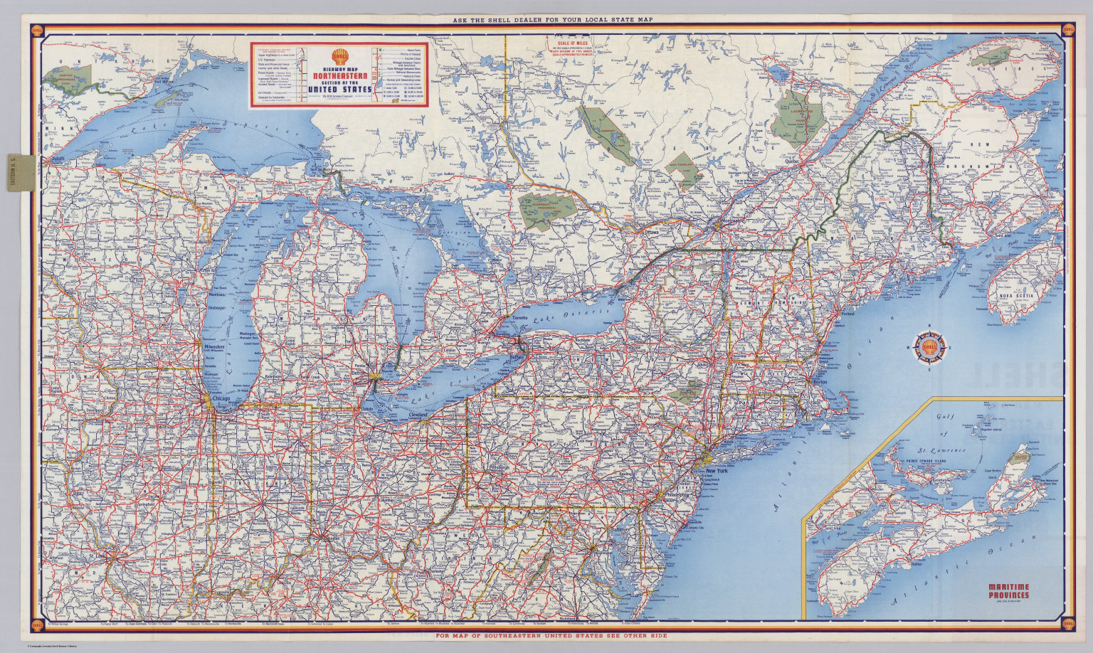Shell Highway Map Northeastern Section Of The United States - Road map of eastern us states