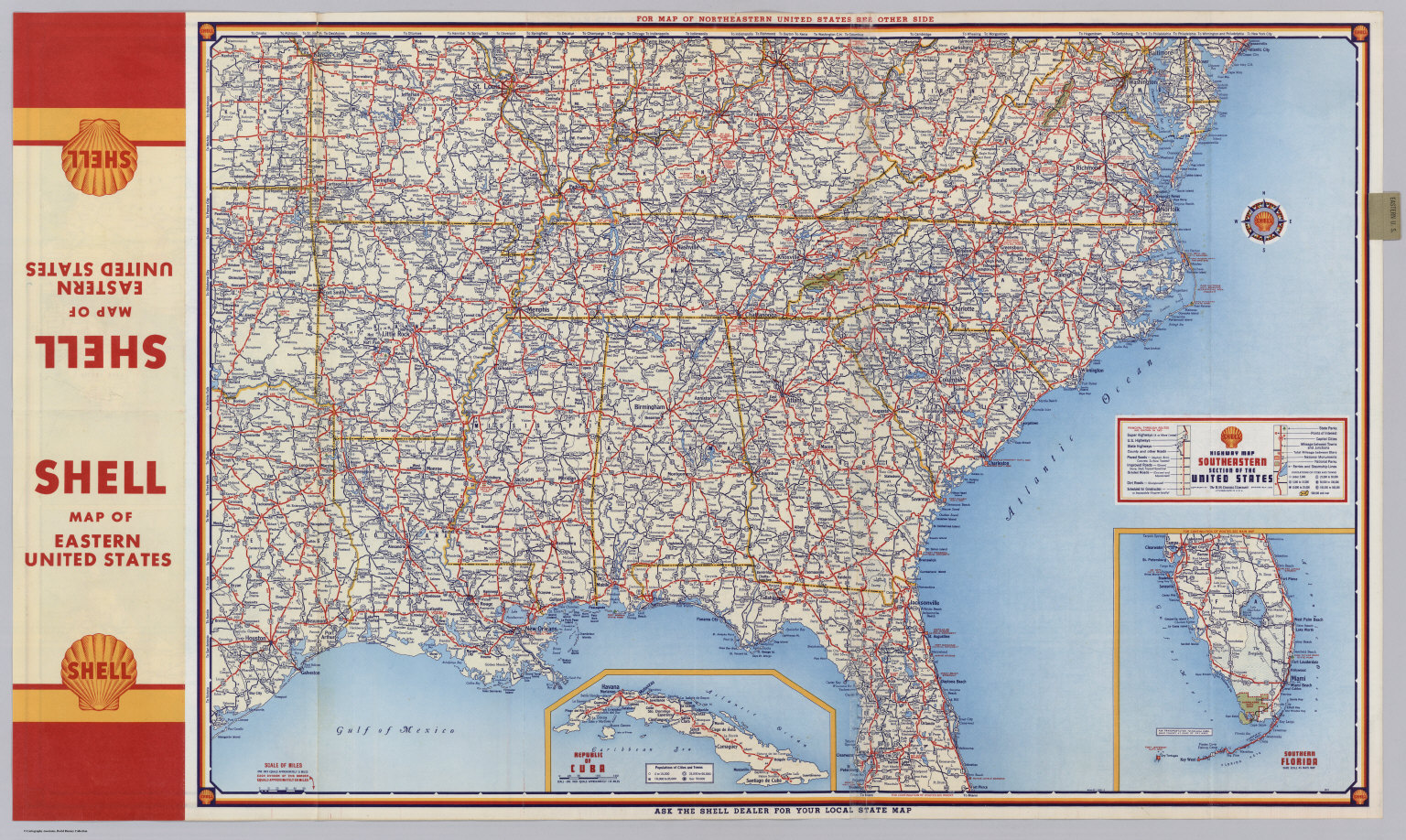 Shell Highway Map Southeastern Section Of The United States - Map of cuba and southeast us