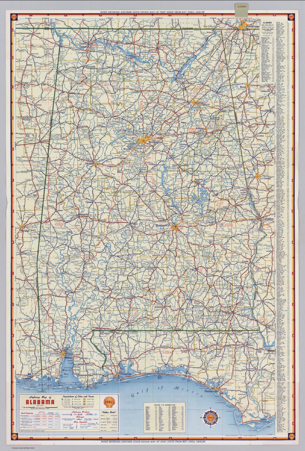 Shell Highway Map Of Alabama David Rumsey Historical Map Collection - Road map of alabama