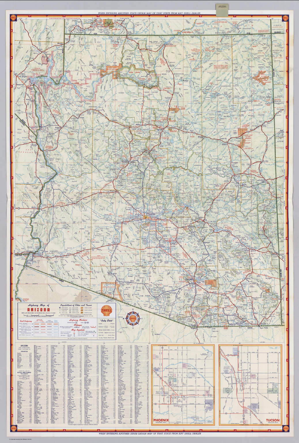 Shell Highway Map Of Arizona David Rumsey Historical Map Collection - Arizona map state