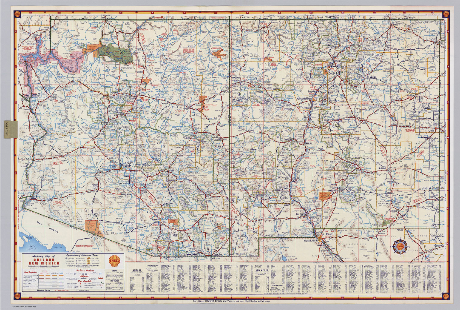 Shell Highway Map Of Arizona And New Mexico David Rumsey - Road map of arizona