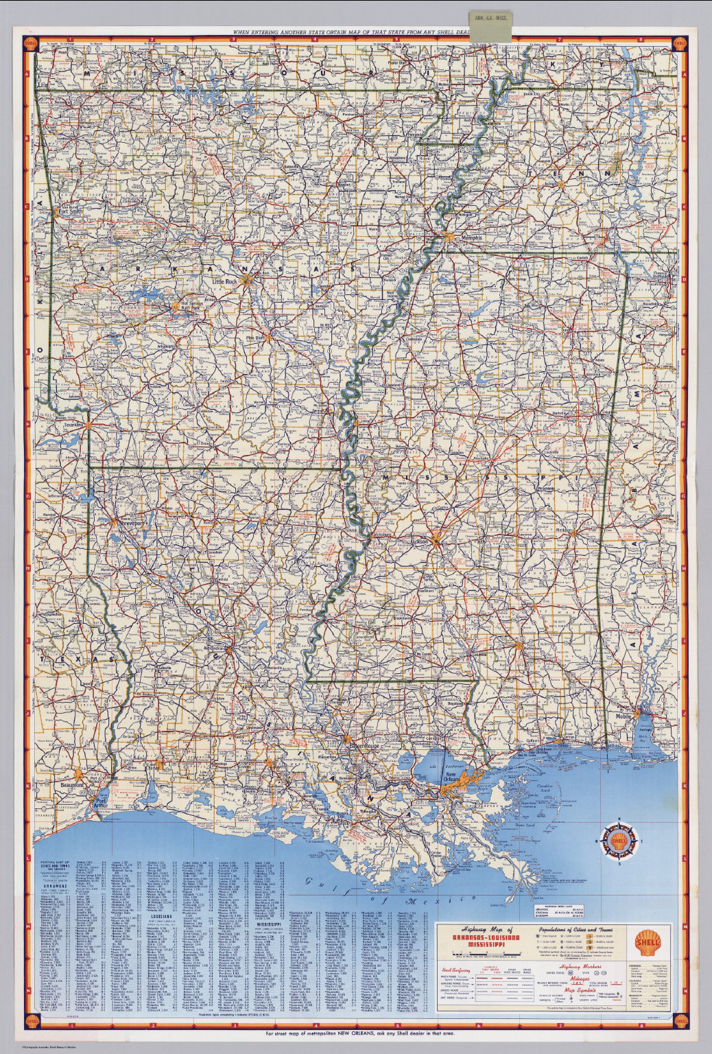Shell Highway Map Of ArkansasLouisiana Mississippi David - Arkansas highway map