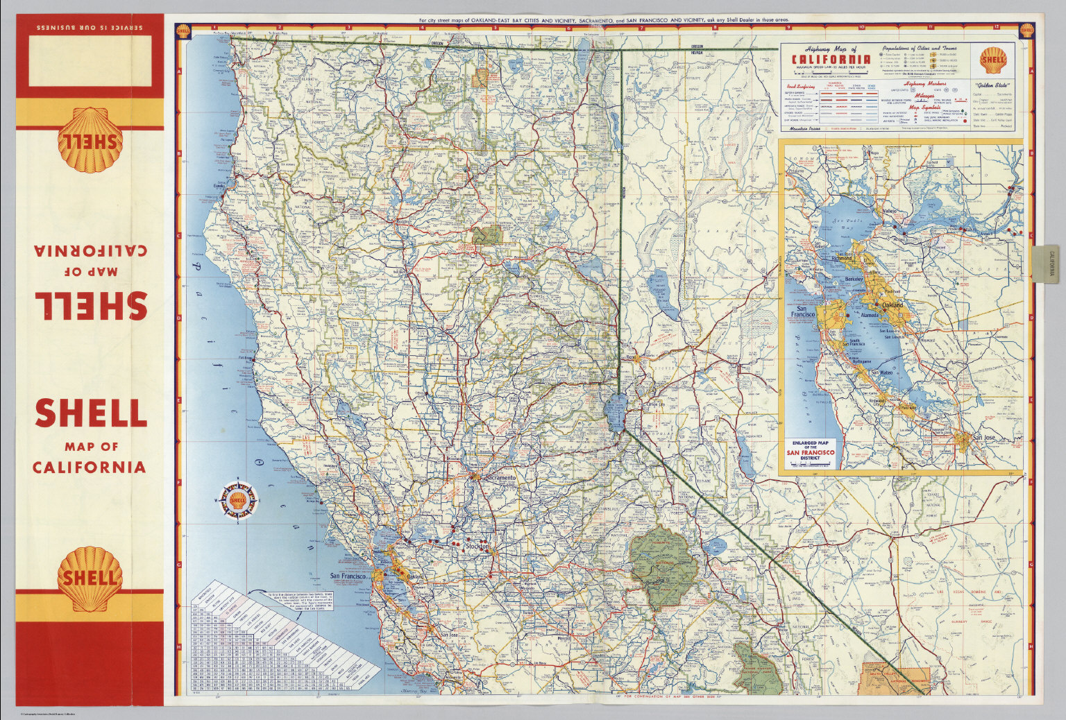 Shell Highway Map of California northern portion David Rumsey