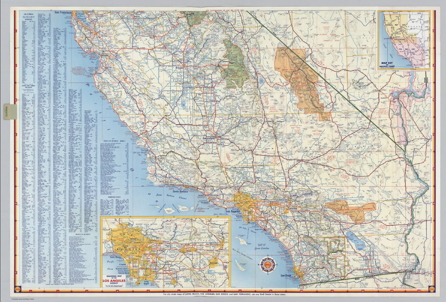 Shell Highway Map Of California Southern Portion David Rumsey - Ca road map
