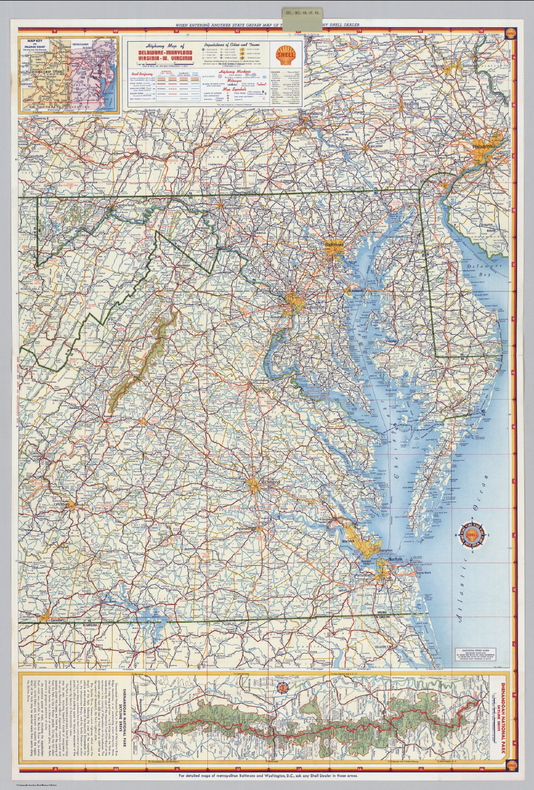 Shell Highway Map Of Delaware Maryland Virginia W Virginia - Map of delaware