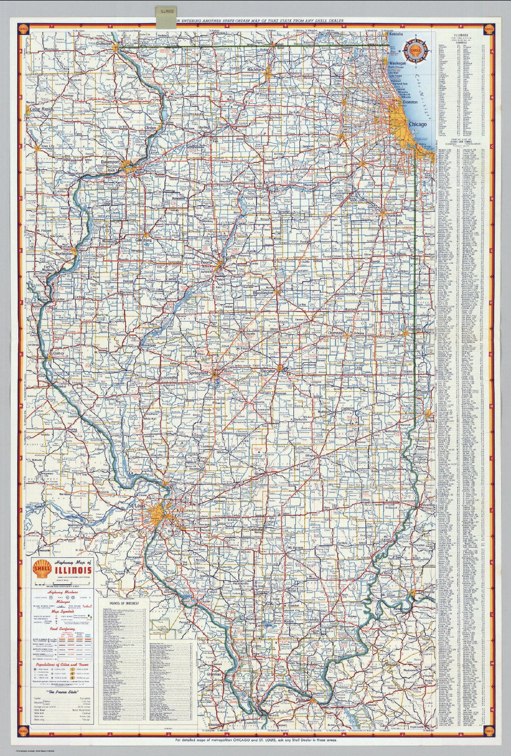Shell Highway Map Of Illinois David Rumsey Historical Map - Illinois road map