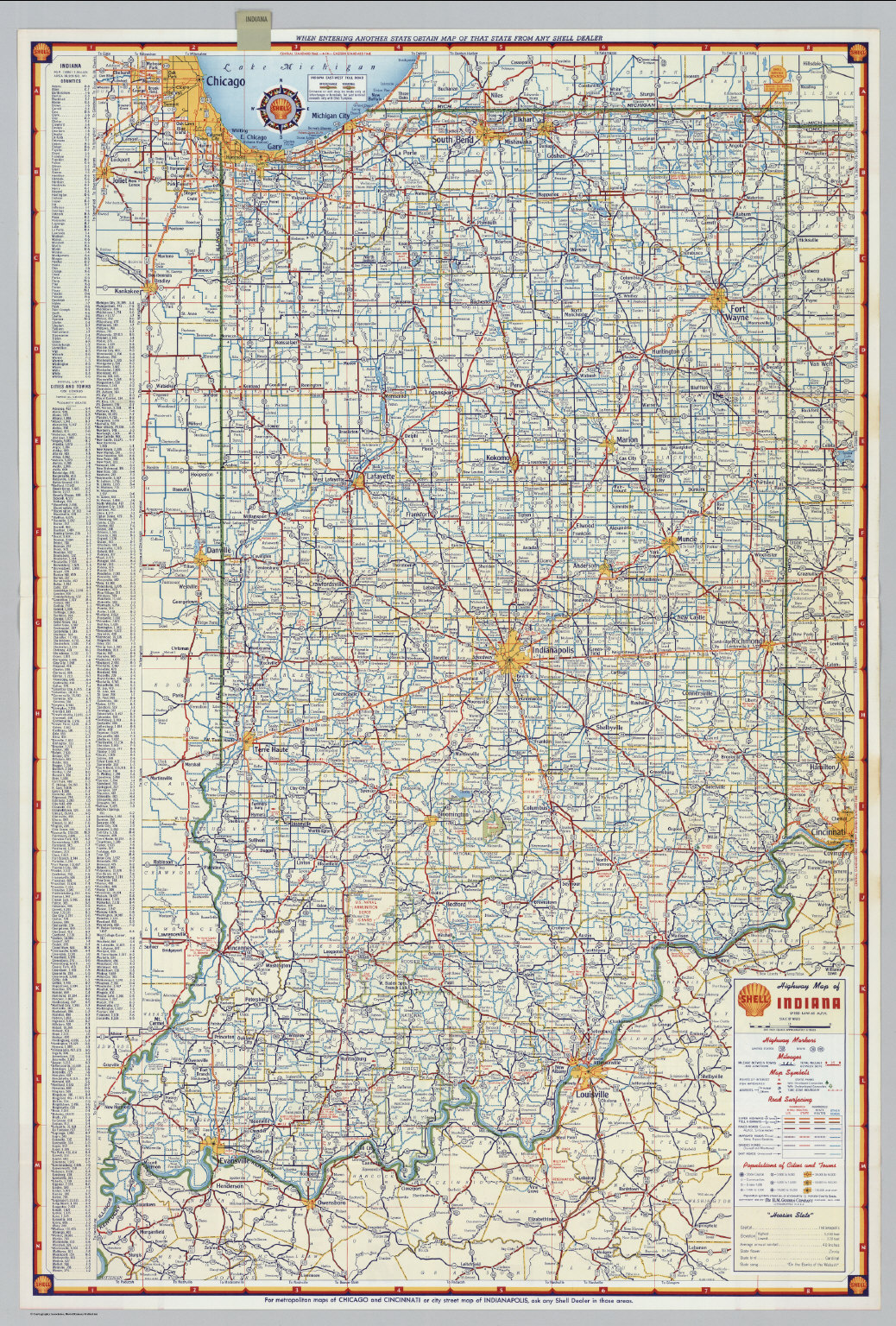 Shell Highway Map Of Indiana David Rumsey Historical Map Collection - Maps of indiana