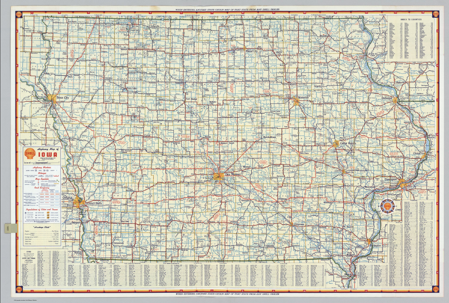 Shell Highway Map Of Iowa David Rumsey Historical Map Collection - Road map of iowa