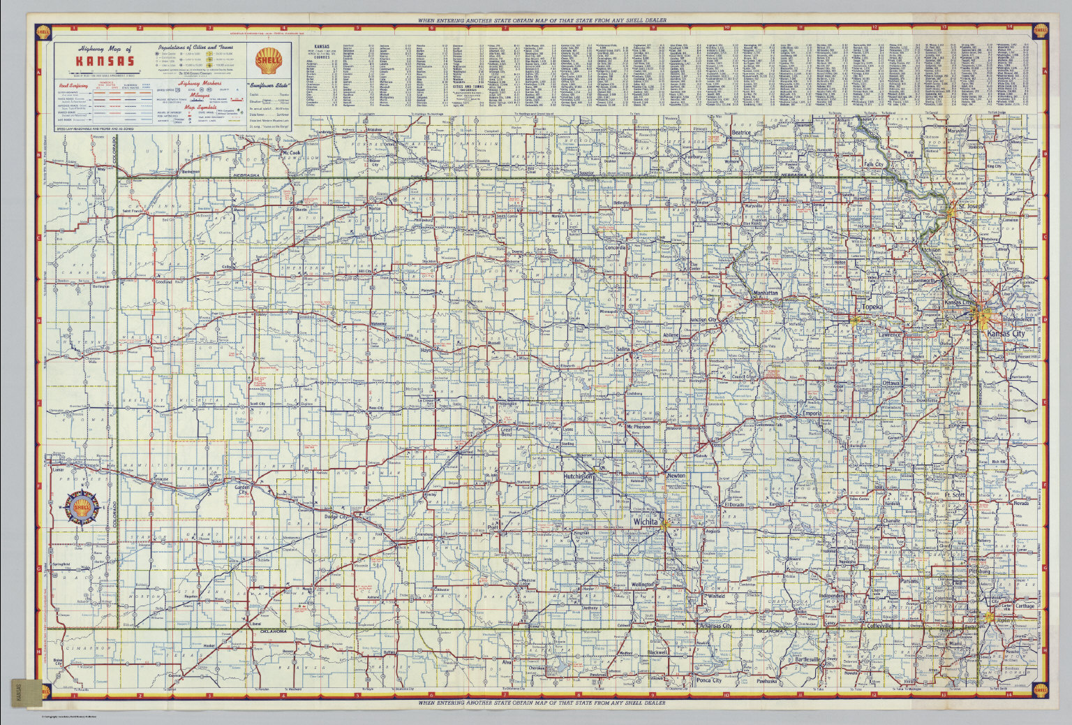 Shell Highway Map Of Kansas David Rumsey Historical Map Collection - Map of kansas