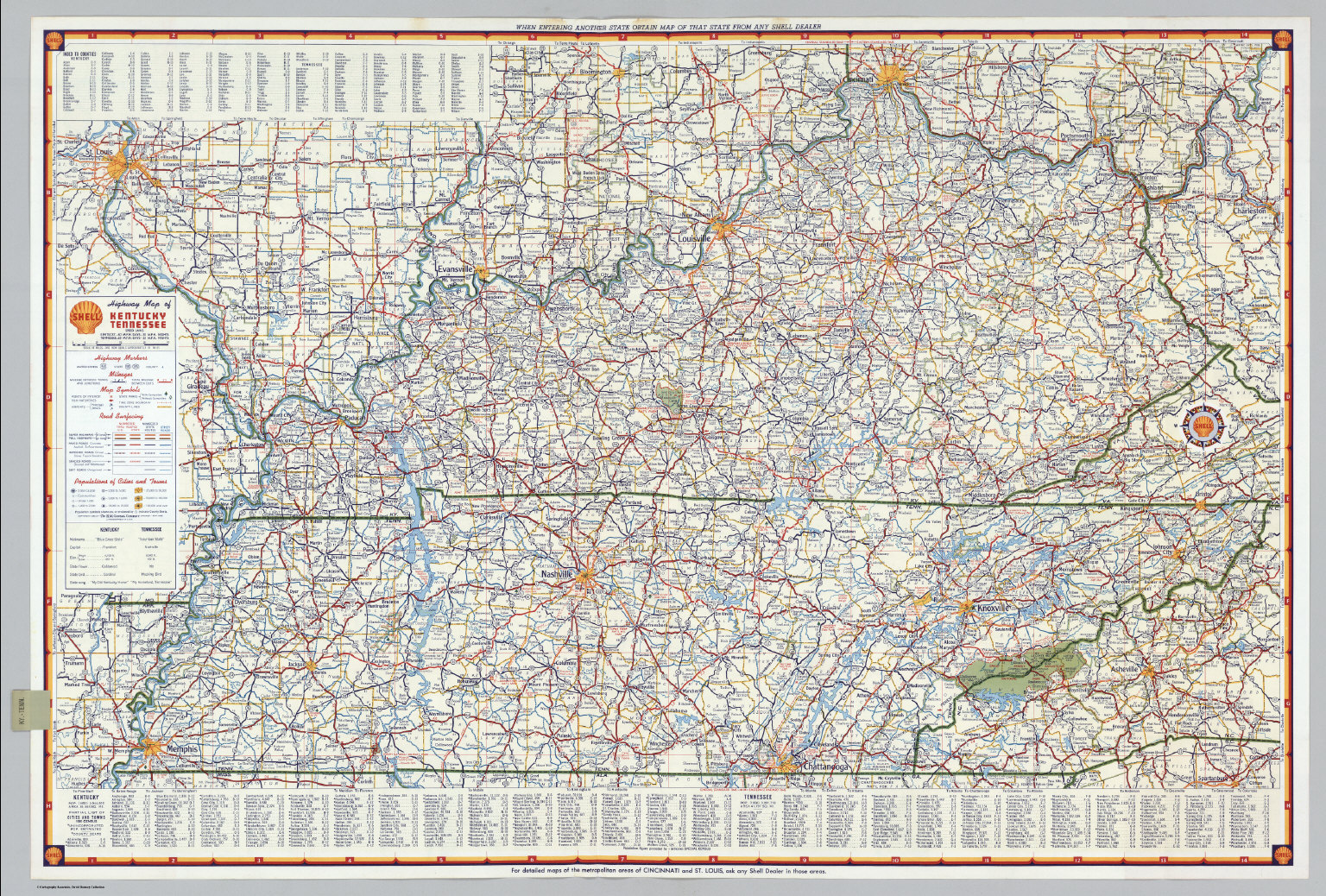 Shell Highway Map Of Kentucky Tennessee David Rumsey - Map kentucky