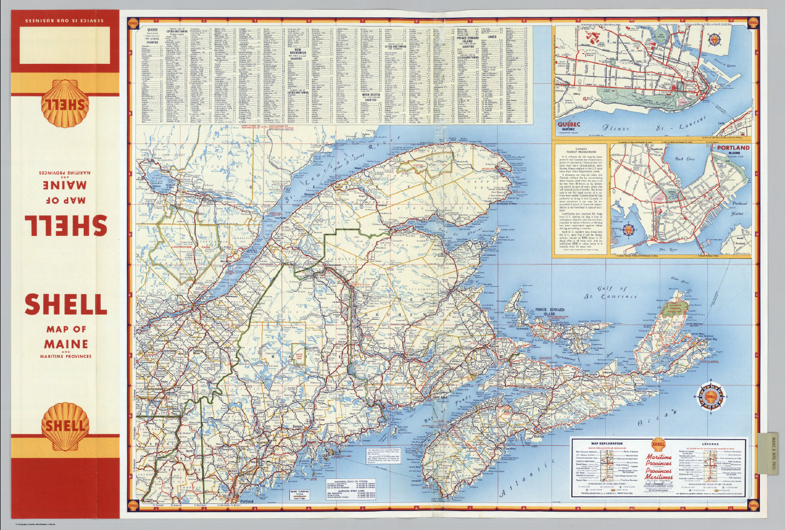 Various Regions And Cities In And Around Maine Including Canadian - Road map maine