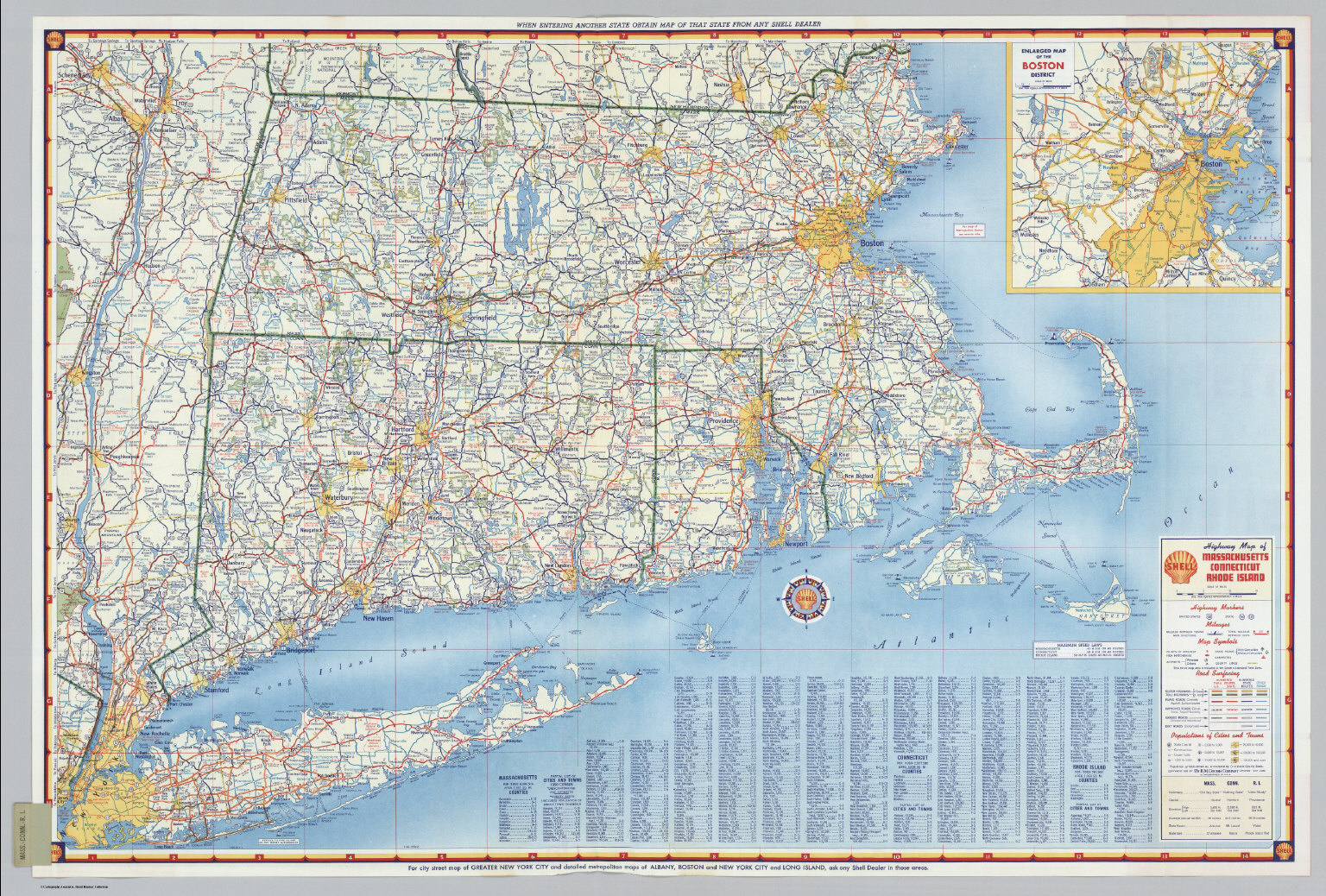 Shell Highway Map Of Massachusetts Connecticut Rhode Island - Massachusetts map