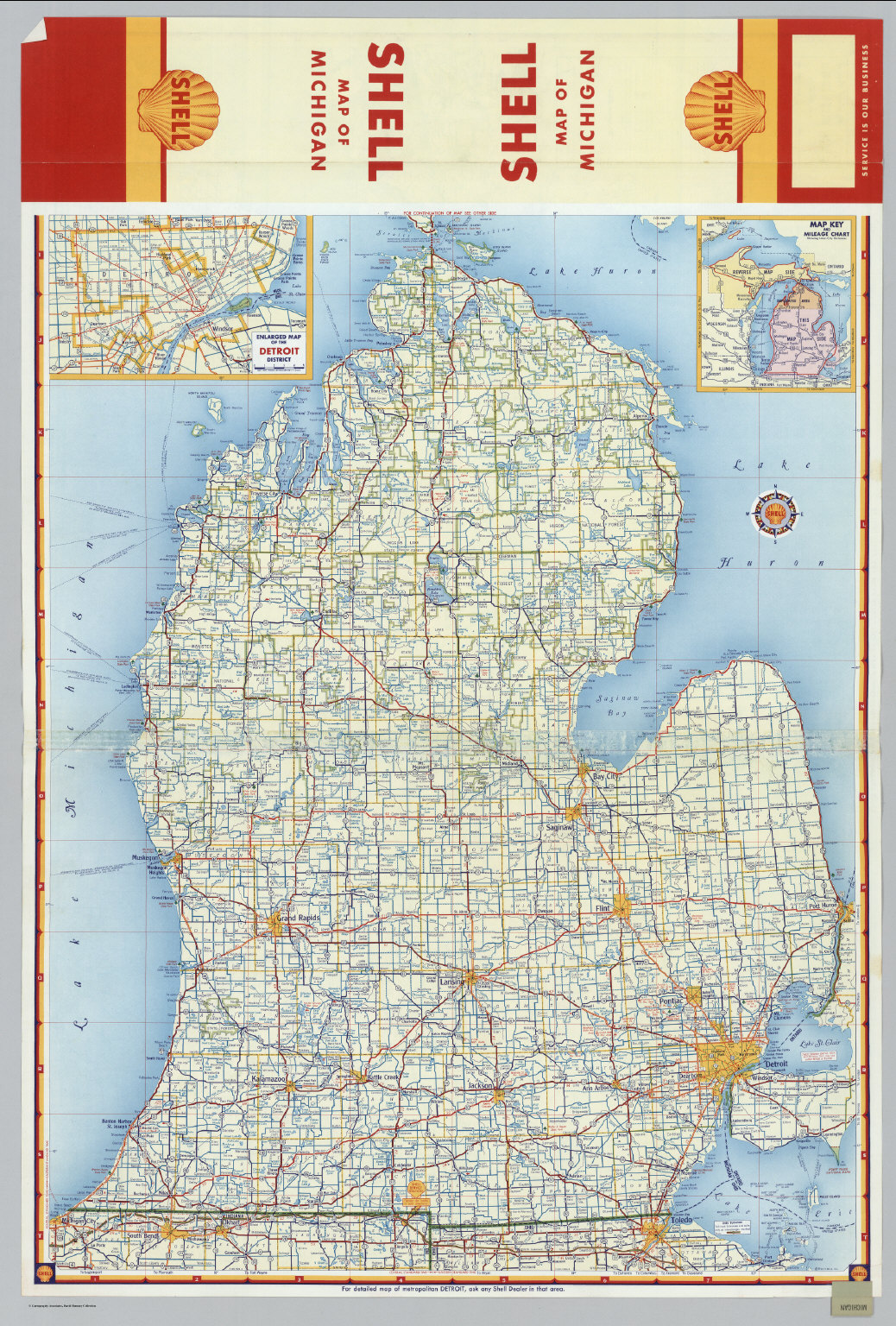 Shell Highway Map of Michigan southern portion  David Rumsey