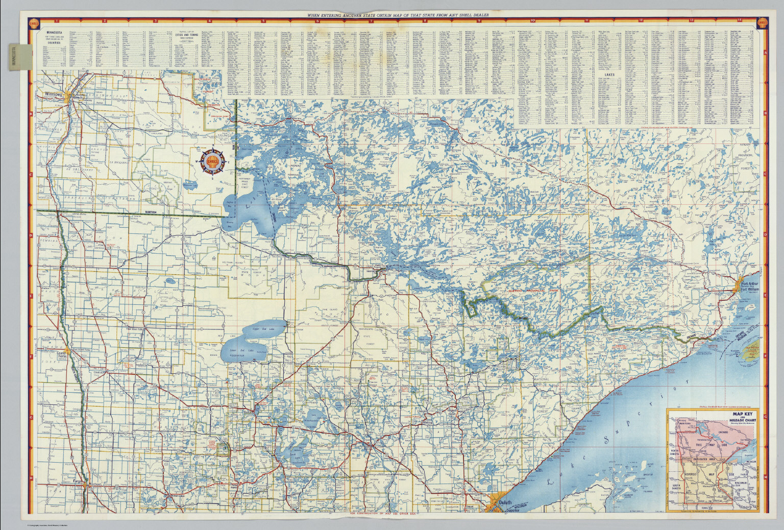 Shell Highway Map of Minnesota southern portion David Rumsey