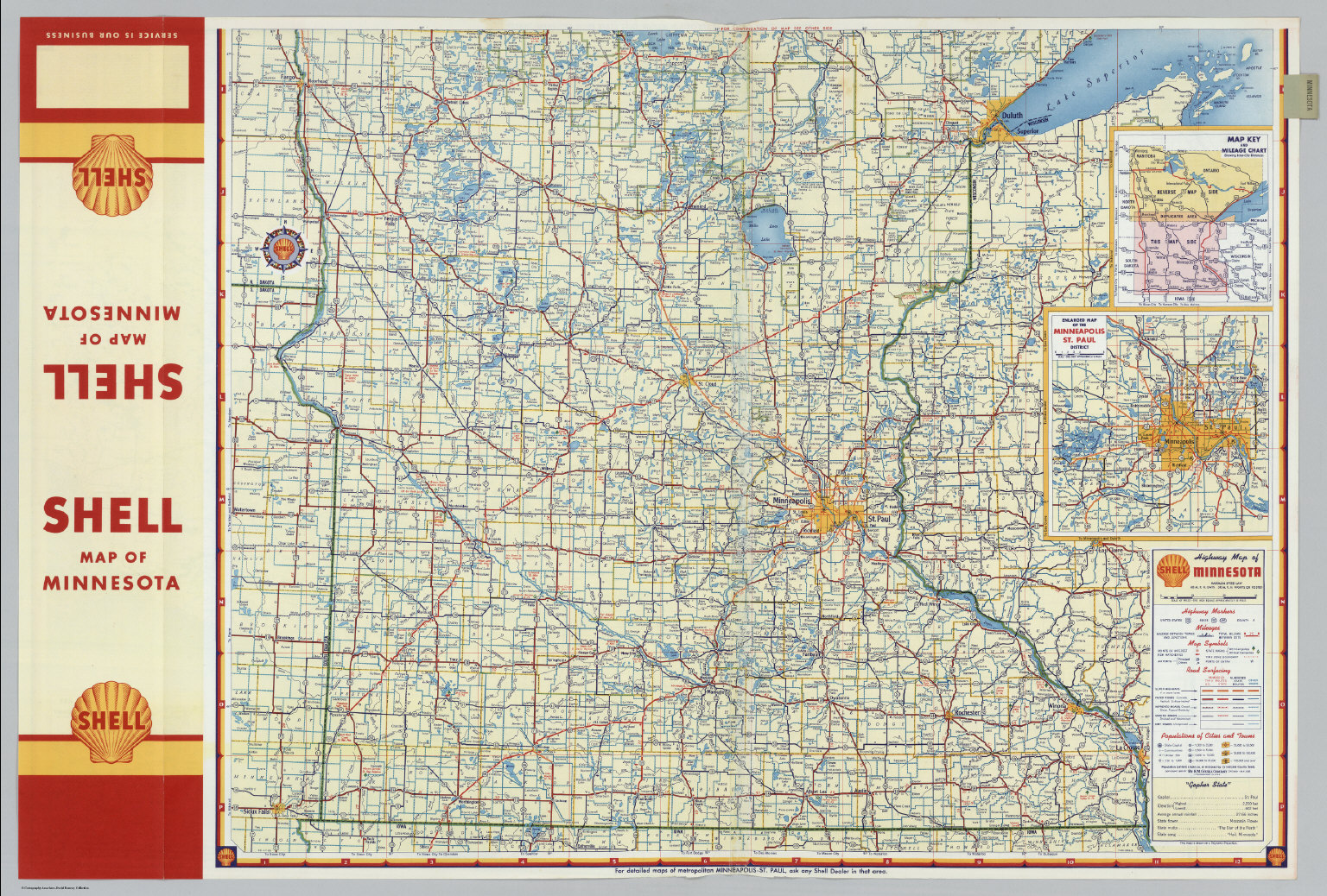 Shell Highway Map Of Minnesota Northern Portion David Rumsey - Minnesota highway map