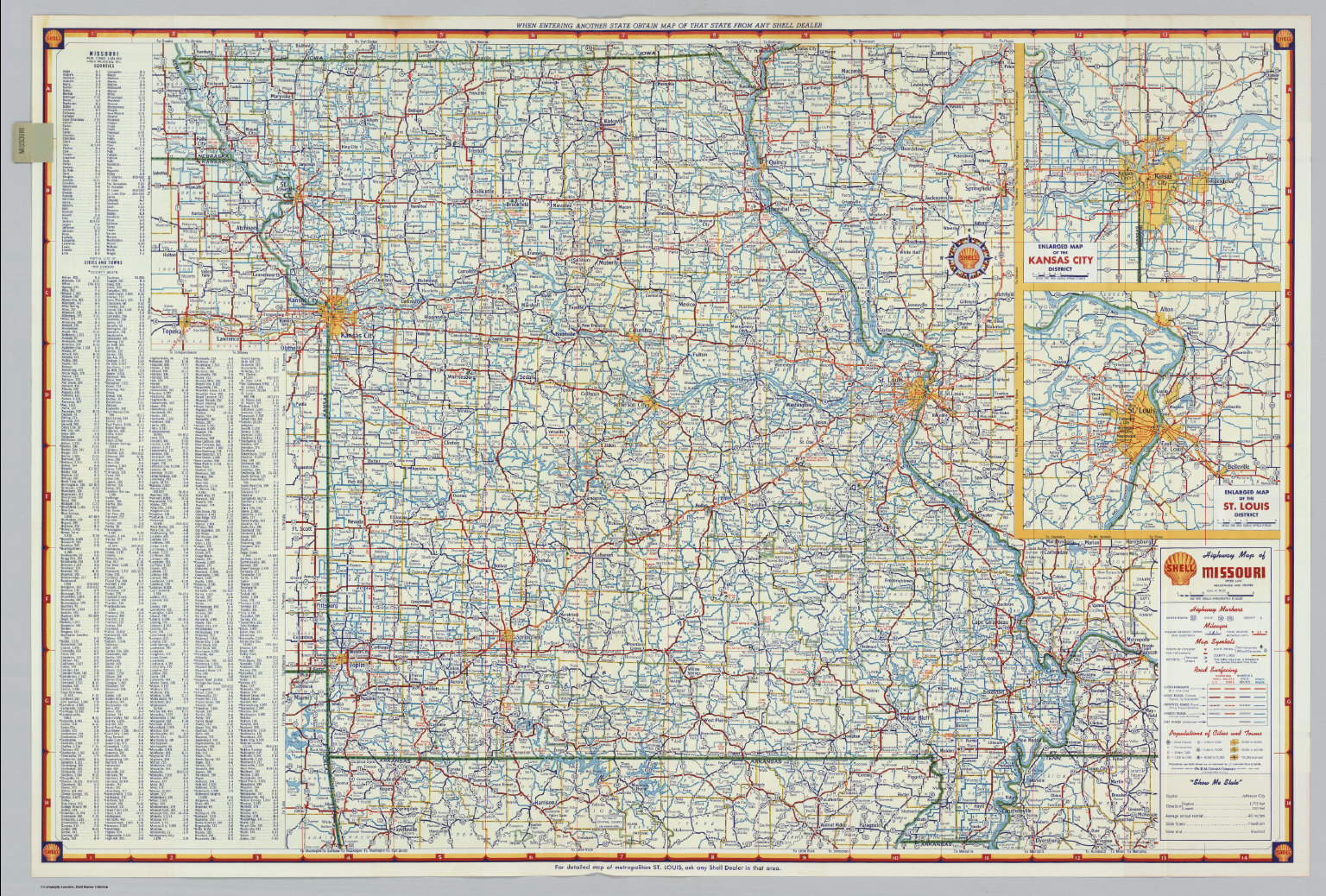 Shell Highway Map Of Missouri David Rumsey Historical Map - Highway map of missouri