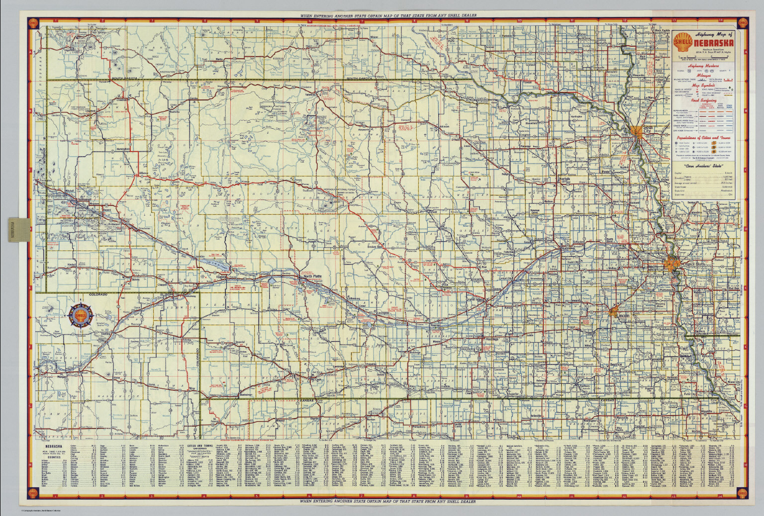 Shell Highway Map Of Nebraska David Rumsey Historical Map - Roadmap of nebraska