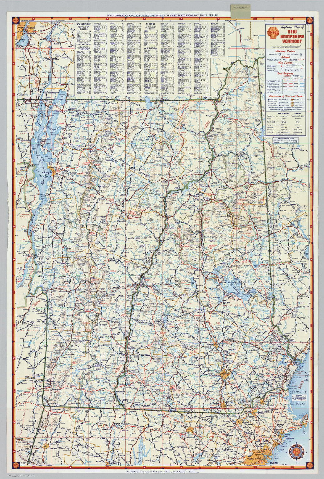 Shell Highway Map Of New Hampshire Vermont David Rumsey - Road map of nh