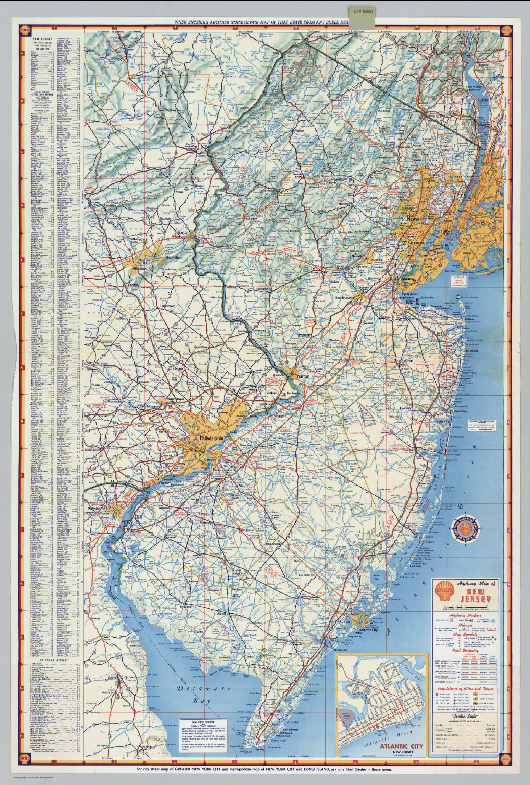 Shell Highway Map Of New Jersey David Rumsey Historical Map - Nj road map
