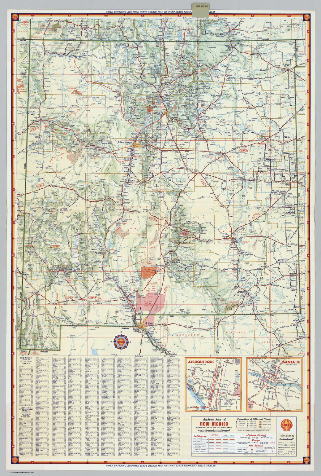 Shell Highway Map of New Mexico David Rumsey Historical Map
